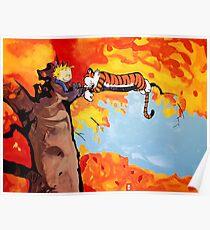 Calvin und Hobbes Herbst Poster