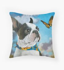 Oliver - dog pet portrait oil painting Throw Pillow