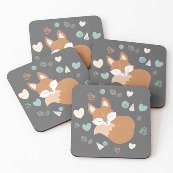Sleepy Fox Pattern in The Cartoon Woodland Coasters (Set of 4)