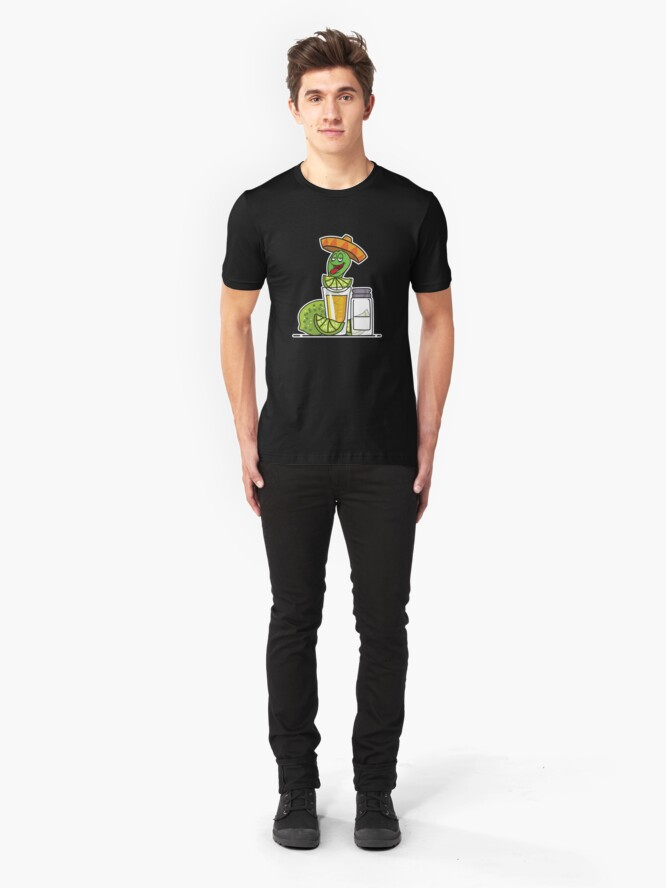 Alternate view of Tequila Worm Drinking Slim Fit T-Shirt