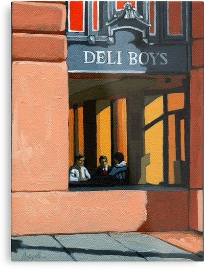 Deli Boys - people oil painting by LindaAppleArt