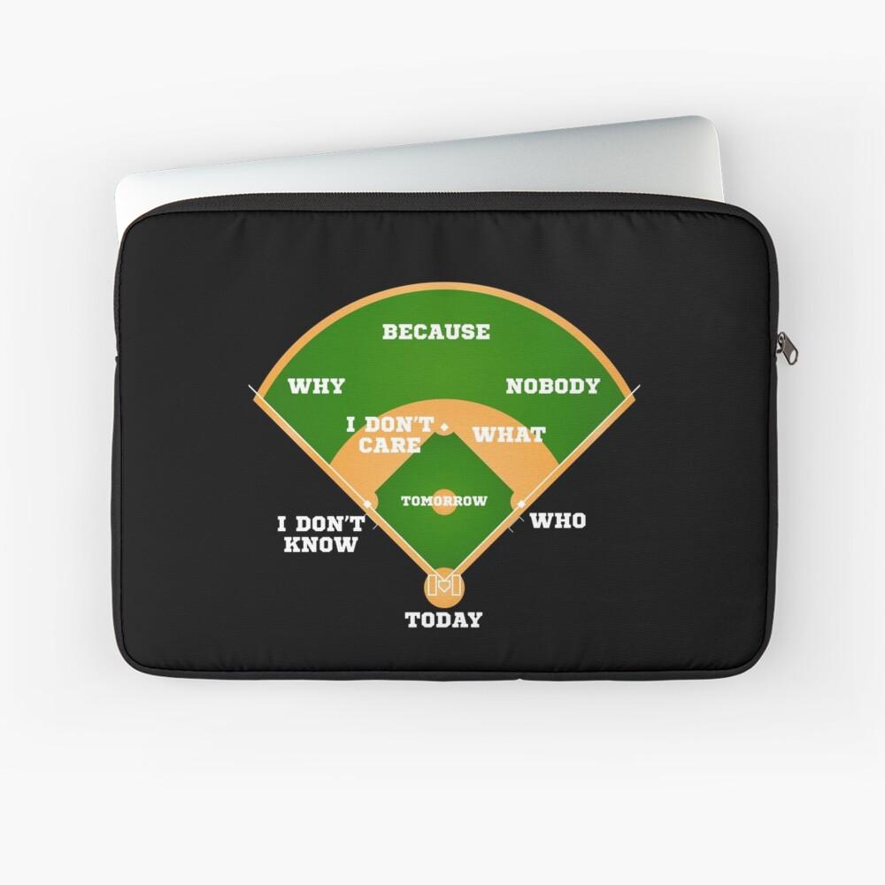 Whos On First Baseball Diamond Fielding Card Laptop Sleeve