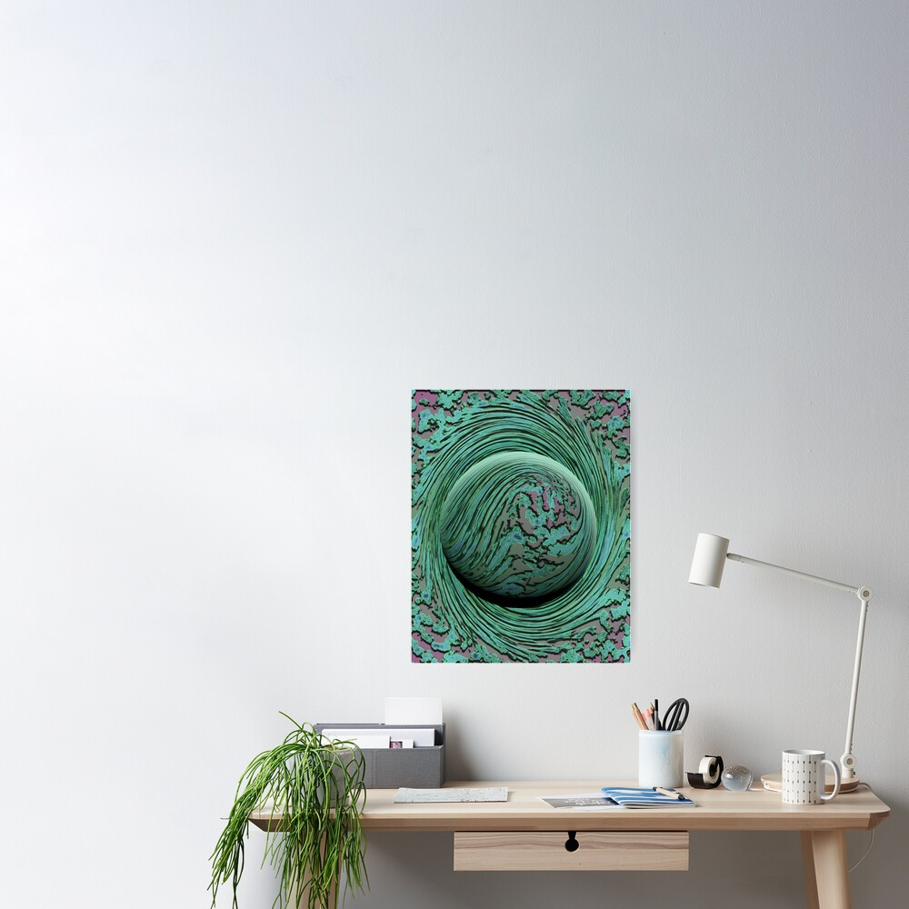 Green Singularity - Abstract Swirling Globe Poster