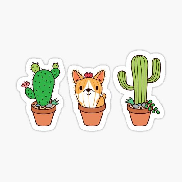 Corgi Cactus Sticker