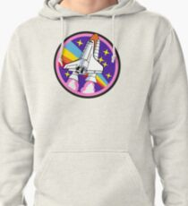 badge patch pink rainbow rocket Pullover Hoodie