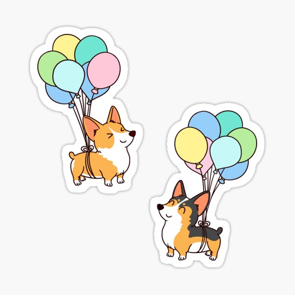 Corgi Balloon Sticker