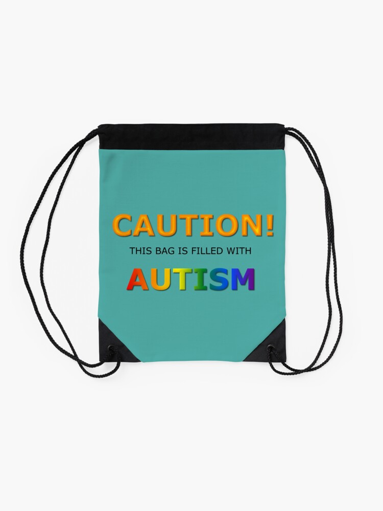 Alternate view of Caution! this bag is filled with Autism Drawstring Bag