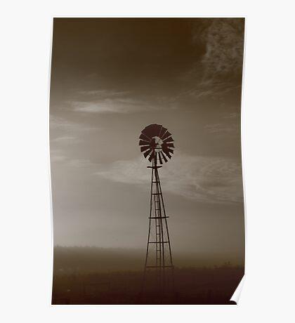Windmill at dawn , Smithton , Tasmania , Australia Poster