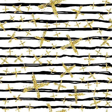 Pattern with brush stripes and gold glitter cross by Wittmann