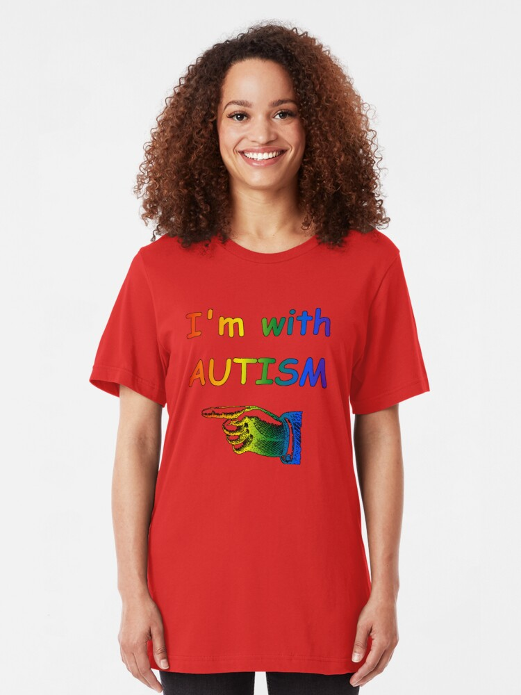Alternate view of I'm with Autism Slim Fit T-Shirt