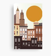 An abstract, cartoon urban, city vector illustration with skyscrapers.  Canvas Print