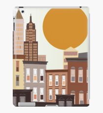 An abstract, cartoon urban, city vector illustration with skyscrapers.  iPad Case/Skin