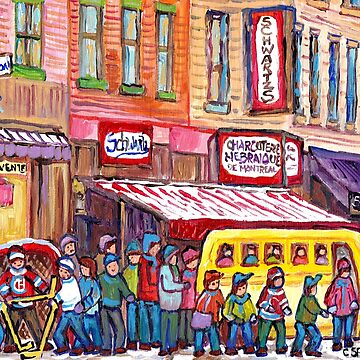 MONTREAL ART HOCKEY FUN STREET SCENE PAINTINGS WINTER IN THE CITY SCHOOL BUS NEIGHBORHOOD SCENES C SPANDAU by CaroleSpandau