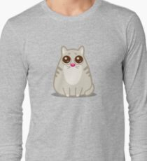 Funny Sad Cat Tshirt and Stickers - Cat Gifts for Cat lovers everywhere! Long Sleeve T-Shirt