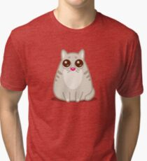 Funny Sad Cat Tshirt and Stickers - Cat Gifts for Cat lovers everywhere! Tri-blend T-Shirt