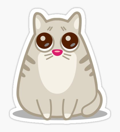 Funny Sad Cat Tshirt and Stickers - Cat Gifts for Cat lovers everywhere! Sticker