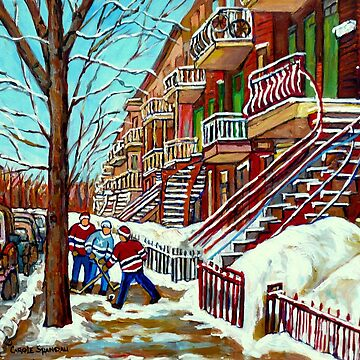 MONTREAL ART STREET HOCKEY SCENE WINTER IN THE CITY PAINTING  by CaroleSpandau