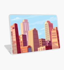 Sun rising and a city wakes up vector illustration design. Laptop Skin