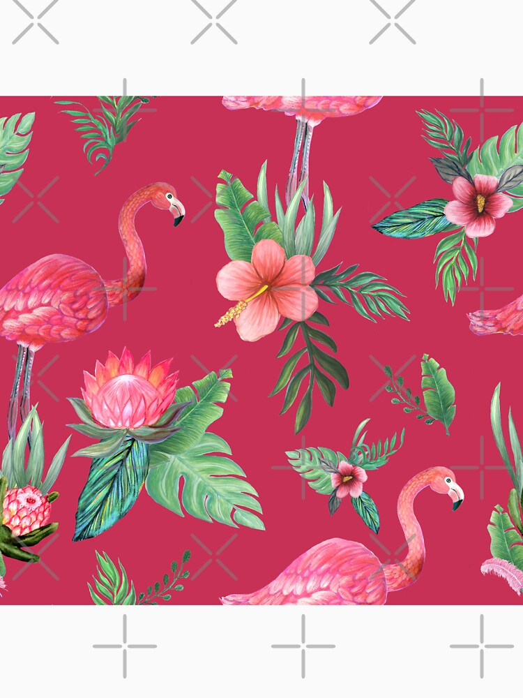 Flamingo Watercolor painting with Protea, Hibiscus and Palms by MagentaRose