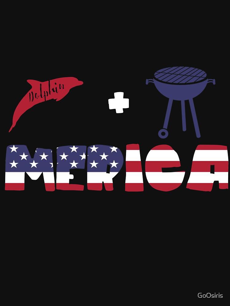 Dolphin plus Barbeque Merica American Flag de GoOsiris