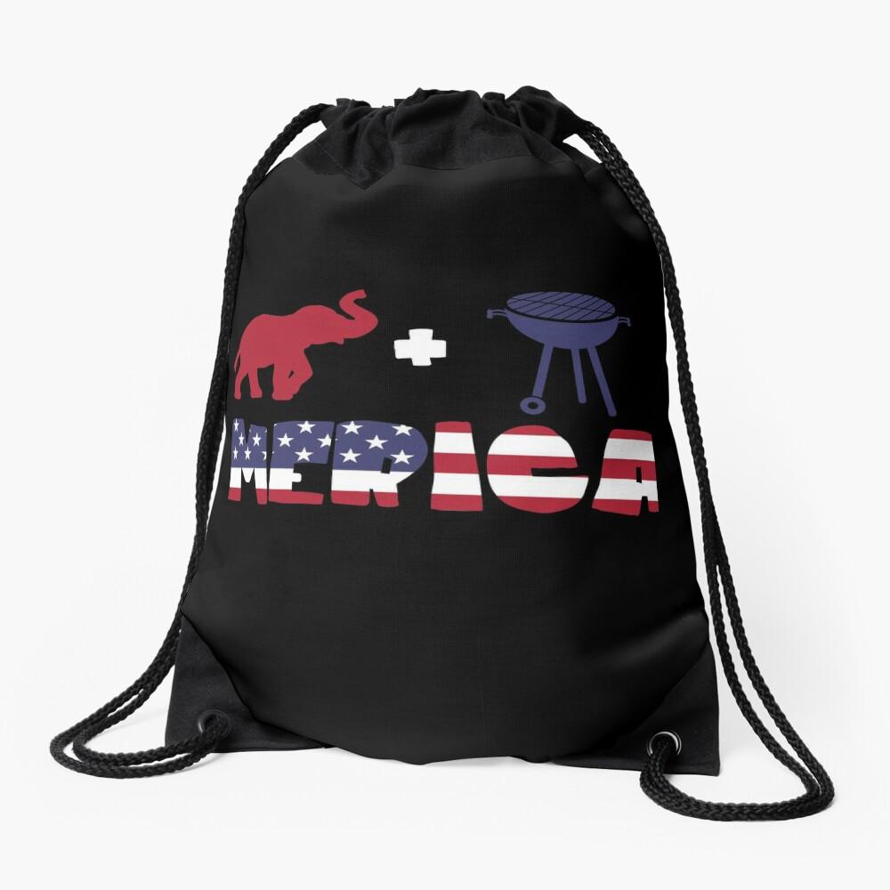 Elephant plus Barbeque Merica American Flag Mochila saco