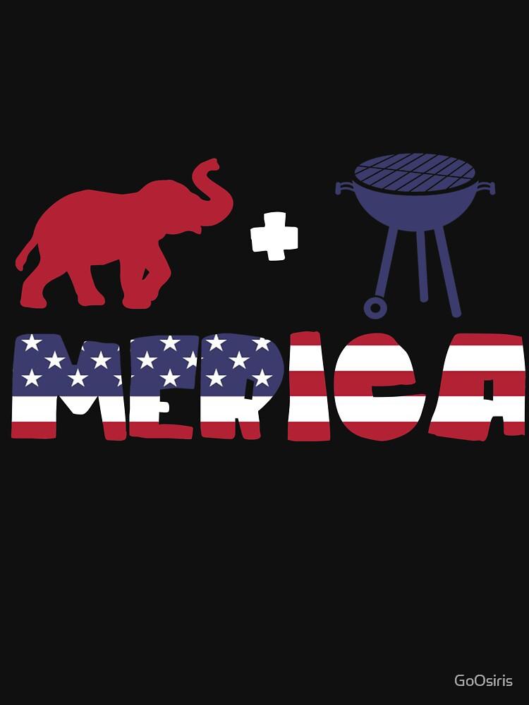 Elephant plus Barbeque Merica American Flag de GoOsiris
