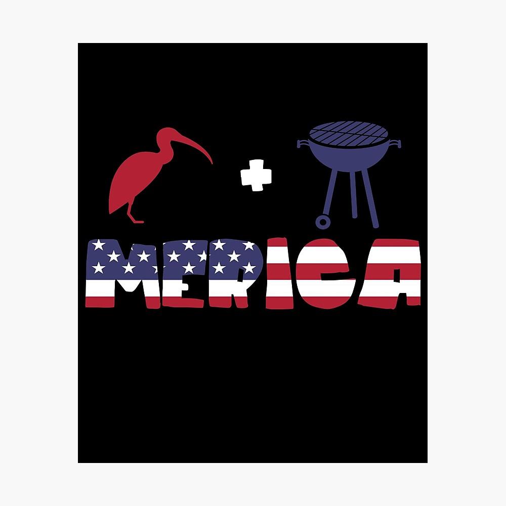 Curlew plus Barbeque Merica American Flag Lámina fotográfica