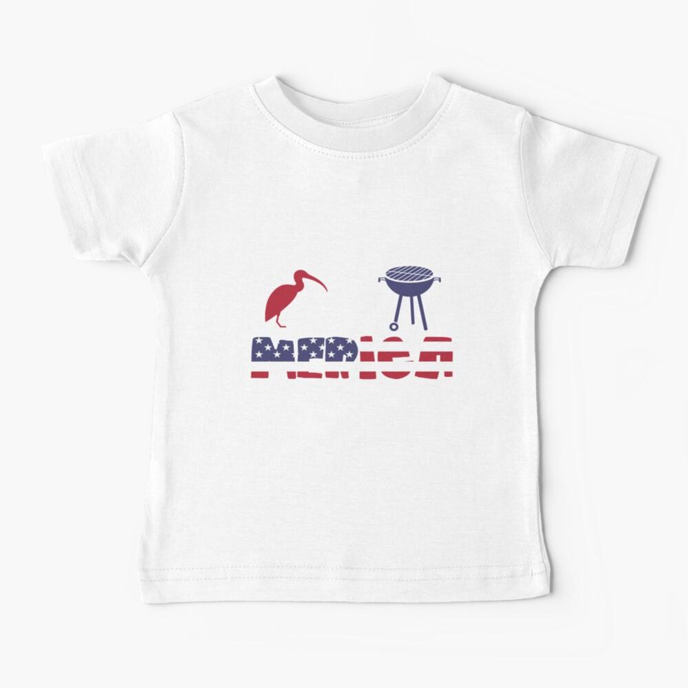 Curlew plus Barbeque Merica American Flag Camiseta para bebés