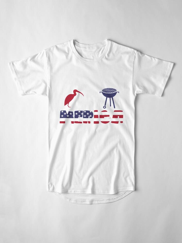 Vista alternativa de Camiseta larga Curlew plus Barbeque Merica American Flag