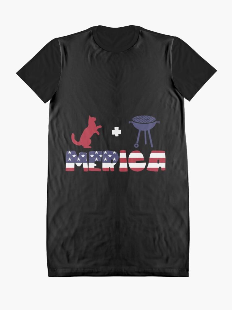Vista alternativa de Vestido camiseta Funny Cat plus Barbeque Merica American Flag