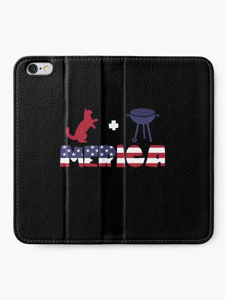 Vista alternativa de Fundas tarjetero para iPhone Funny Cat plus Barbeque Merica American Flag