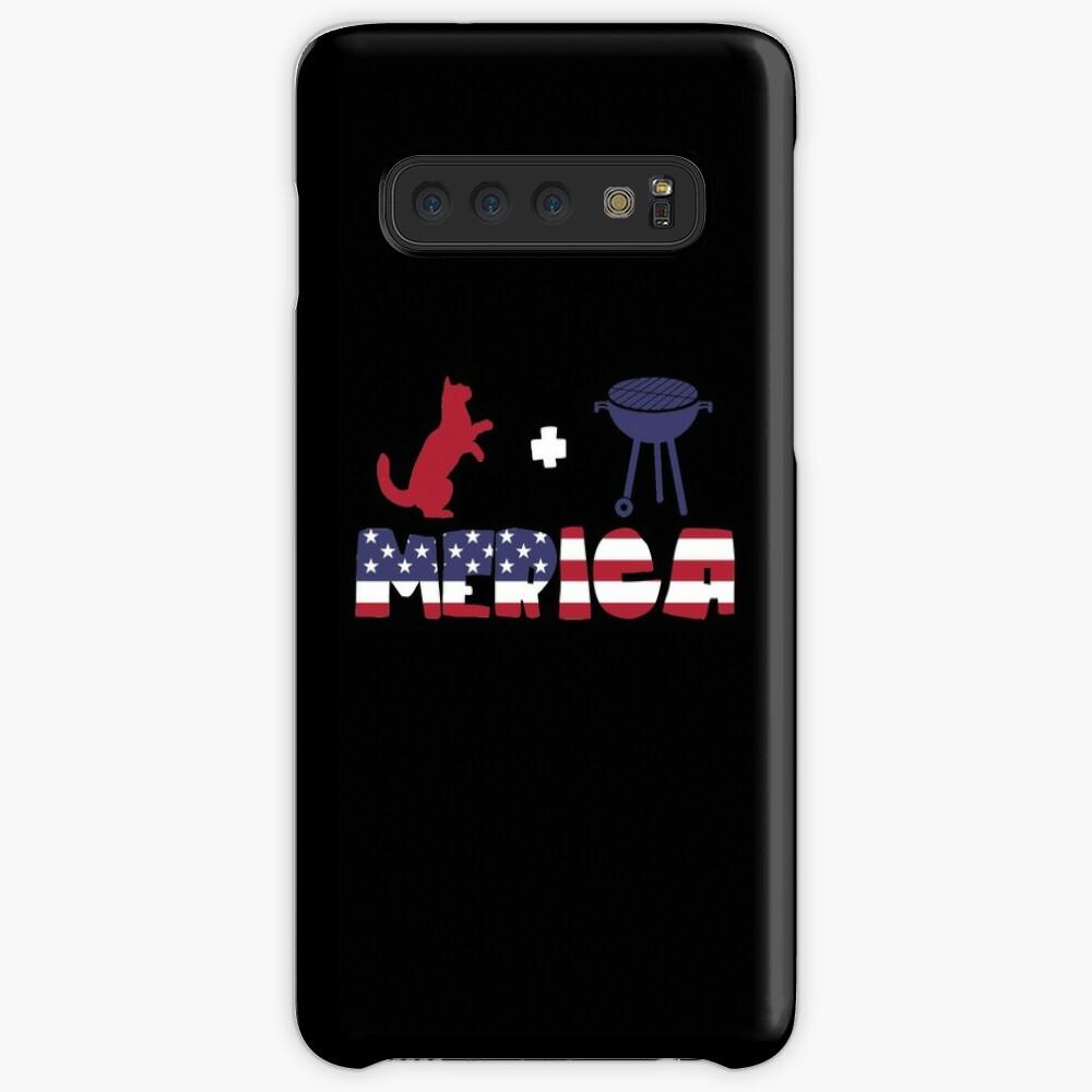 Funny Cat plus Barbeque Merica American Flag Funda y vinilo para Samsung Galaxy