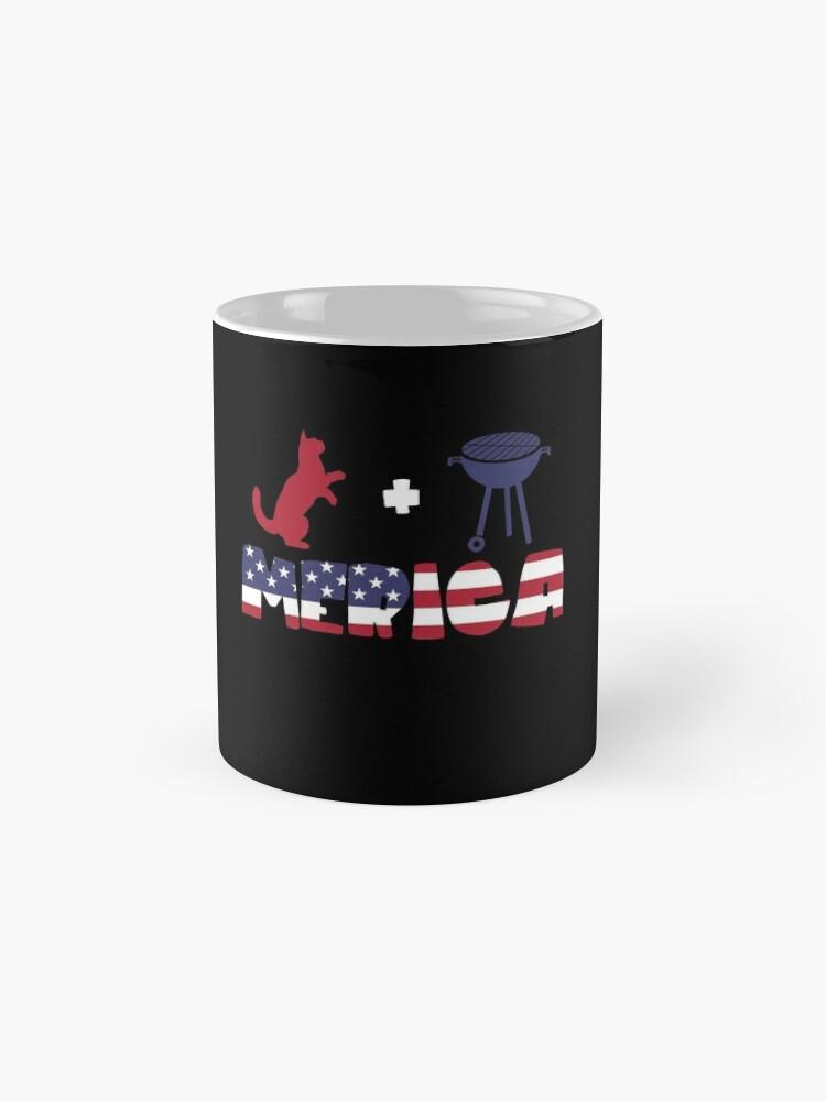 Vista alternativa de Taza Funny Cat plus Barbeque Merica American Flag
