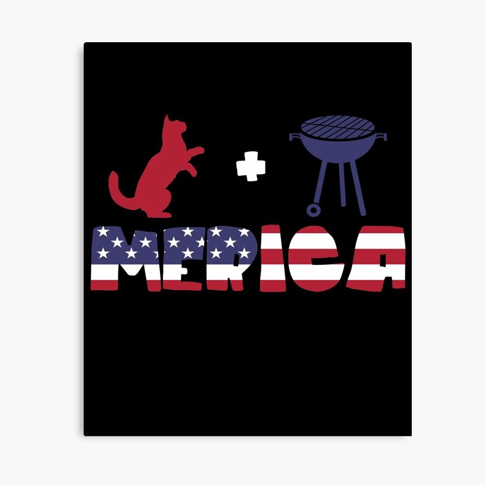 Funny Cat plus Barbeque Merica American Flag Lienzo
