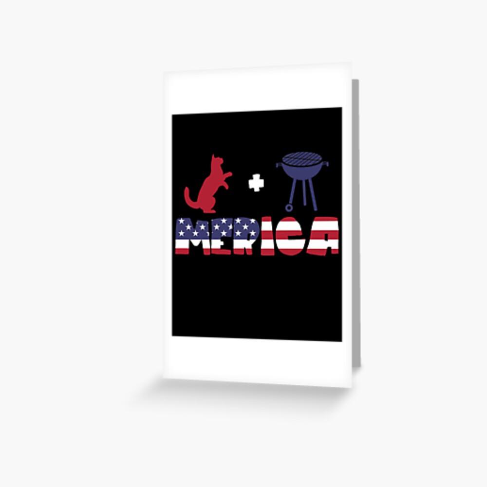 Funny Cat plus Barbeque Merica American Flag Tarjetas de felicitación