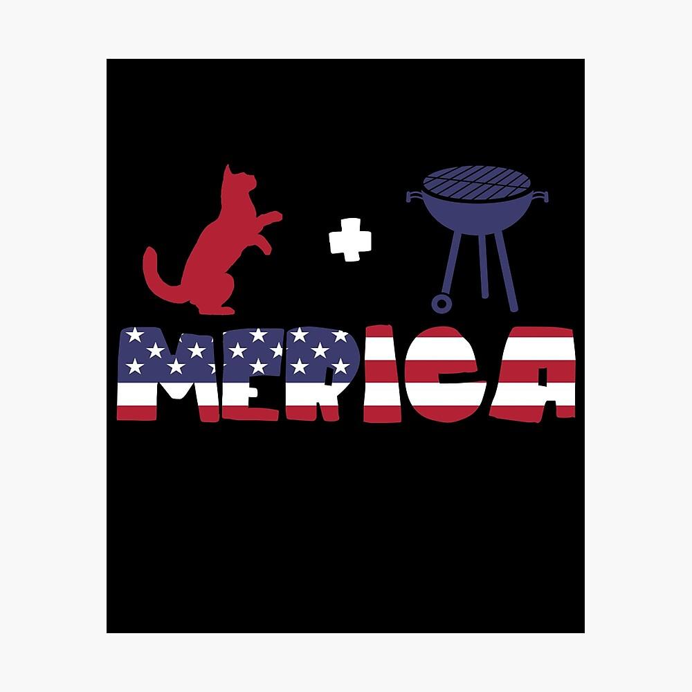 Funny Cat plus Barbeque Merica American Flag Lámina fotográfica