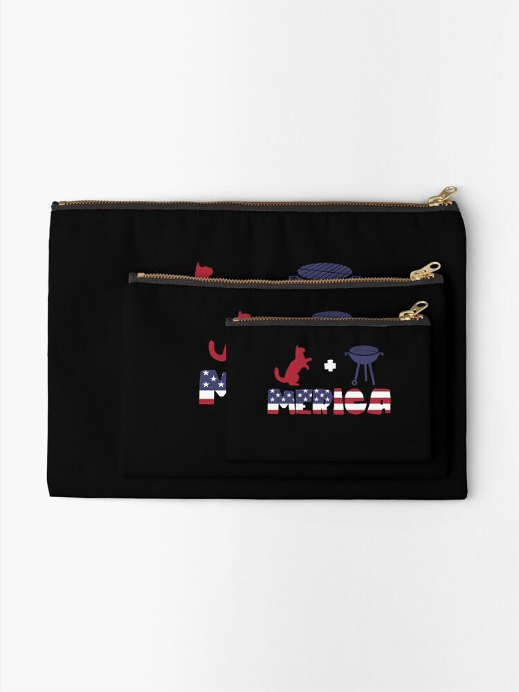 Vista alternativa de Bolsos de mano Funny Cat plus Barbeque Merica American Flag