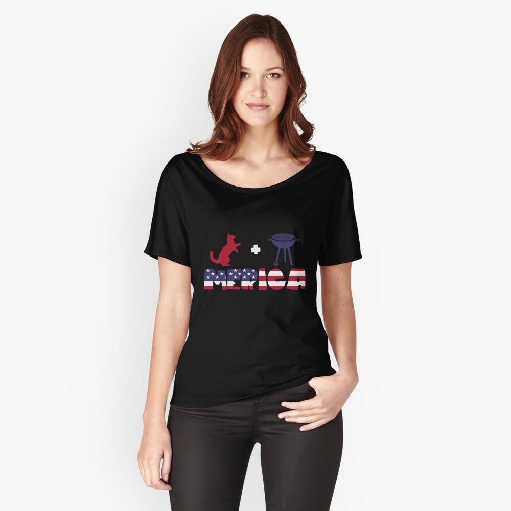 Funny Cat plus Barbeque Merica American Flag Camiseta ancha