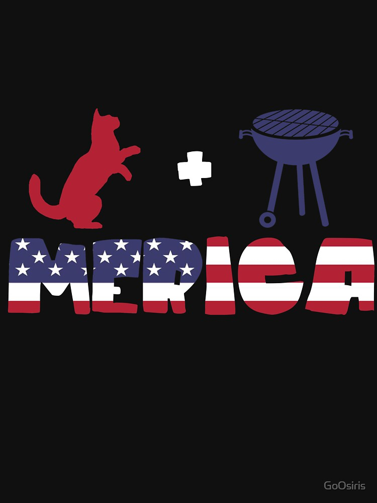 Funny Cat plus Barbeque Merica American Flag de GoOsiris