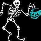 Teal Pumpkin Skeleton Halloween  by SamAnnDesigns