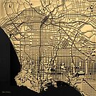 Cities of Gold - Golden City Map of Los Angeles on Black by Serge Averbukh