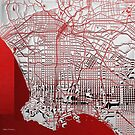 Silver Cities - Silver City Map of Los Angeles on Red by Serge Averbukh