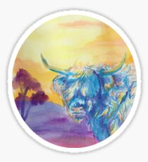 Highland Cow Watercolour Painting Sticker
