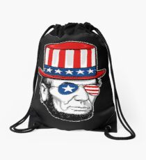 Abraham Lincoln 4th Of July Drawstring Bag