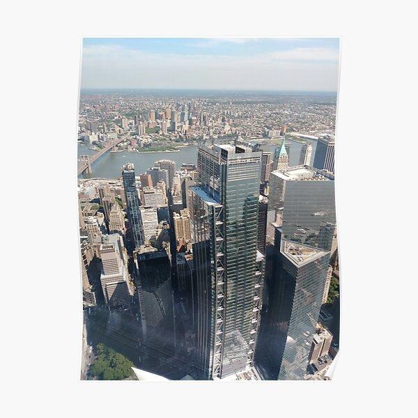 #Manhattan, #NewYorkCity, #downtown, #NewYork, skyscrapers, river, Hudson, bridges, streets Poster