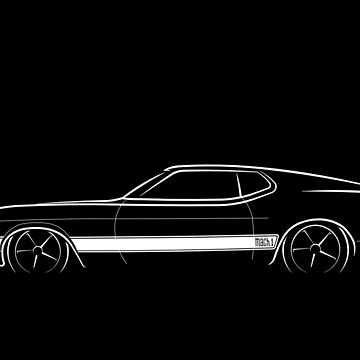 1973 Ford Mustang Mach 1 - profile stencil, white by mal-photography