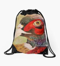 A Pheasant Portrait Drawstring Bag