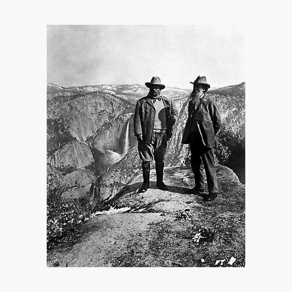 Teddy Roosevelt and John Muir - Glacier Point Yosemite Valley - 1903 Photographic Print