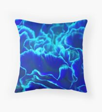 Vibrant Blue and Turquoise Carnation Flower Throw Pillow