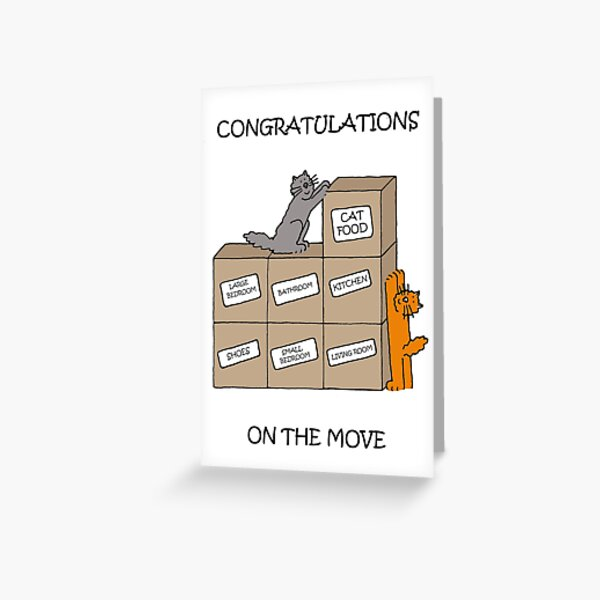 Congratulations on the New Home Cartoon Cats Greeting Card